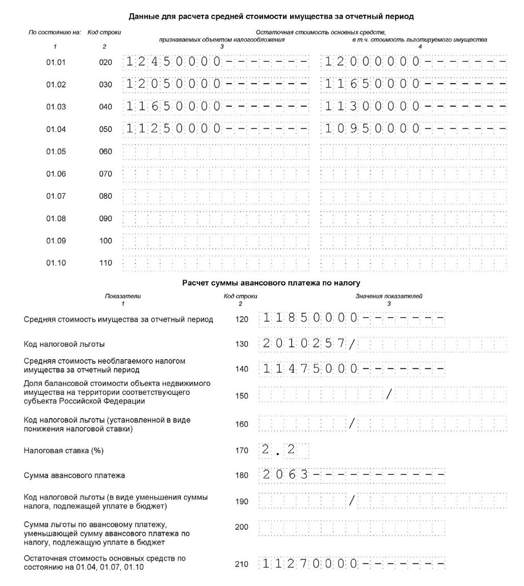 Налог Имущество Расчет пример 2015